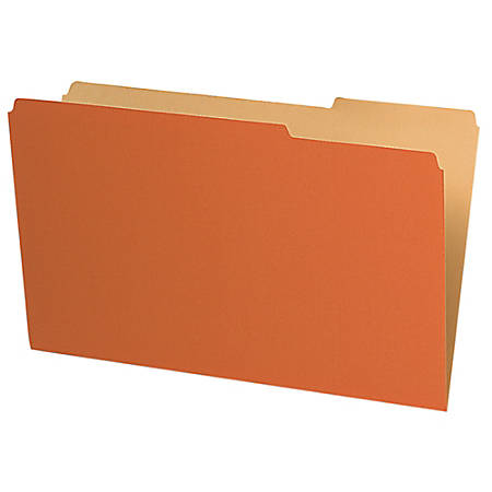 Pendaflex® Legal-Size Interior File Folders, 1/3 Cut, Orange, Box Of 100