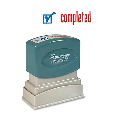 "Xstamper® Pre-Inked, Re-Inkable Two-Color Title Stamp, ""Completed"""