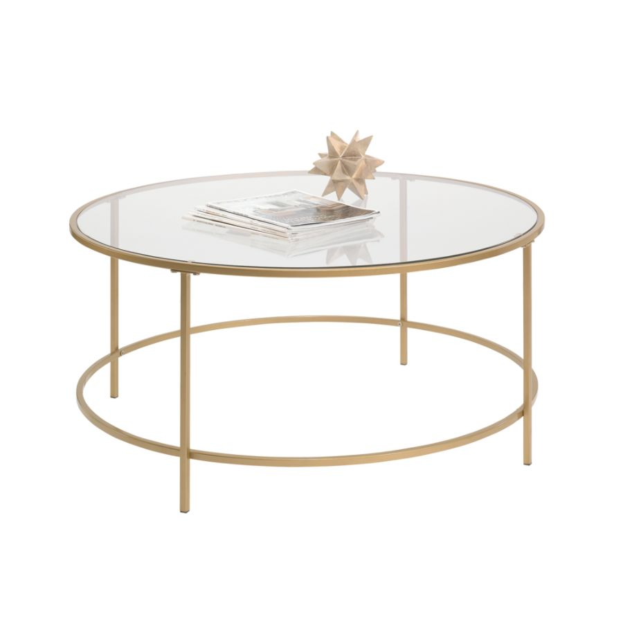 Sauder International Lux Coffee Table Round Satin Gold By Office Depot U0026  OfficeMax
