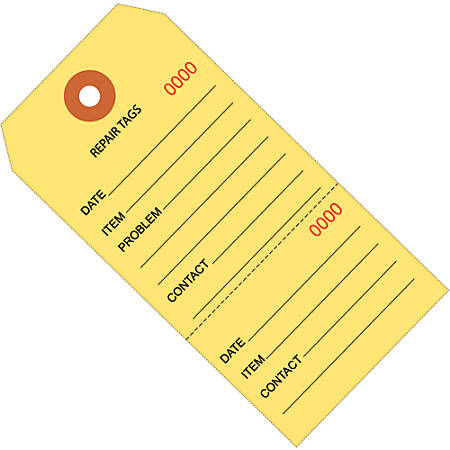 """Office Depot® Brand Consecutively Numbered Repair Tags, 4 3/4"""" x 2 3/8"""", 100% Recycled, Yellow, Case Of 1,000"""