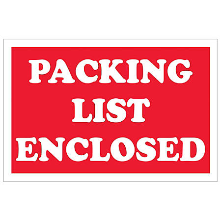 """Tape Logic® Preprinted Shipping Labels, DL1207, Packing List Enclosed, Rectangle, 2"""" x 3"""", Red/White, Roll Of 500"""