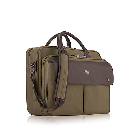 "Solo Executive Polyester Briefcase For 15.6"" Laptops, Brown/Khaki"