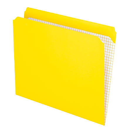 Pendaflex® Reinforced-Top File Folders, Straight Cut Tab, Letter Size, Yellow, Box Of 100 Folders