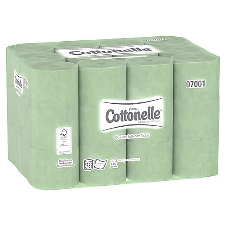 "Kleenex® Cottonelle Coreless 2-Ply Bathroom Tissue, 4.0""W x 3.94""L, 800 Sheets Per Roll, Case of 36 Rolls"