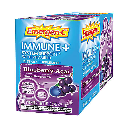 Emergen-C Dietary Supplement Drink Mix, Blueberry-Acai , 0.3 Oz, Box Of 30