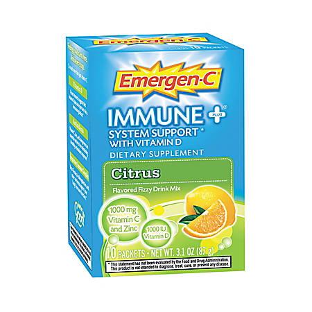 Emergen-C Immune Plus Formula Citrus Drink Mix, 0.3 Oz, Box Of 10