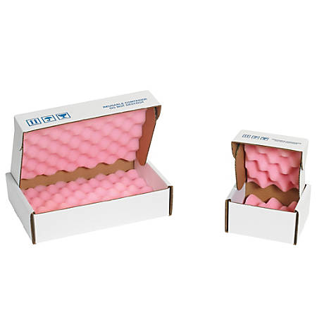"Office Depot® Brand Antistatic Foam Shippers, 8""H x 8""W x 2 3/4""D, Pink/White, Case Of 24"