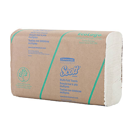"""SCOTT® 2-Ply Multifold Paper Towels, 11 1/2"""", 60% Recycled, White, 100 Paper Towels Per Pack, Carton Of 16 Packs"""