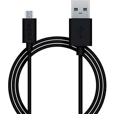 Incipio Charge/Sync Micro USB Cable - 3 ft USB Data Transfer Cable - First End: 1 x Type A Male USB - Second End: 1 x Male Micro USB - Black