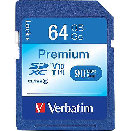 Verbatim™ Premium UHS-I Class 10 SDXC Memory Card, 64GB