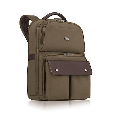 "Solo Executive Polyester Backpack For 15.6"" Laptops, Brown/Khaki"