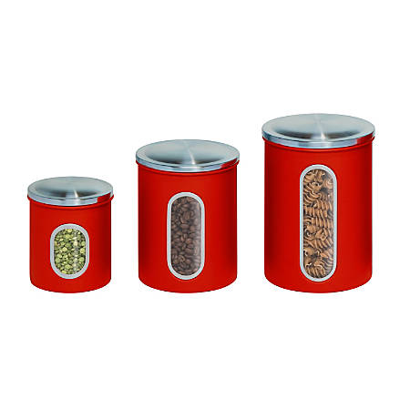 Honey-Can-Do 3-Piece Metal Storage Canister Set, 0.8 - 2.7 Qt, Red/Stainless Steel