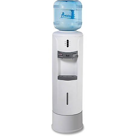 "Avanti WD363P Hot/Cold Water Dispenser - 5 gal - Stainless Steel, Plastic - 39"" x 12.8"" x 12.8"" - White"