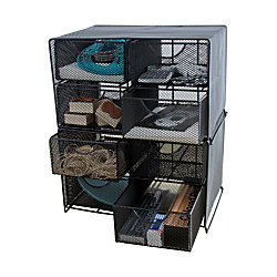 Neat Life Mesh Desktop Storage Unit With Drawers Black