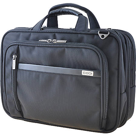"Codi Phantom Carrying Case (Messenger) for 16"" Notebook - Black - Ballistic Nylon, Leather Handle - Checkpoint Friendly - Handle, Shoulder Strap, Trolley Strap - 11.5"" Height x 16.5"" Width x 6.5"" Depth"
