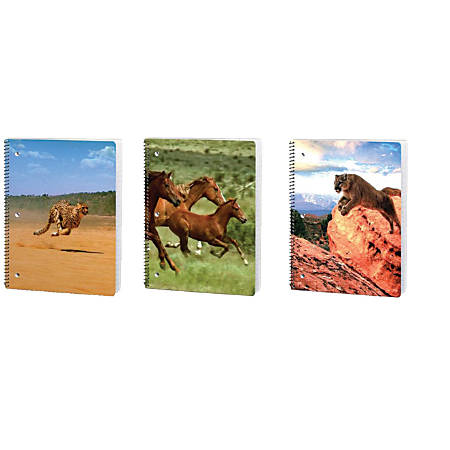 "Kittrich Corporation Notebook, 10 1/2"" x 8"", 1 Subject, Wide Ruled, 140 Pages (70 Sheets), 3D Motion Wildlife"