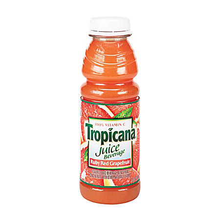 Tropicana 100% Juice Bottles, Ruby Red Grapefruit, 10 Oz, Pack Of 24