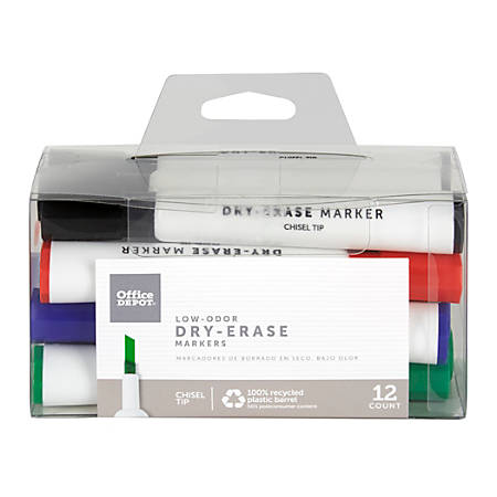 Office Depot® Brand Low-Odor Dry-Erase Markers, Chisel Point, Assorted, Pack Of 12