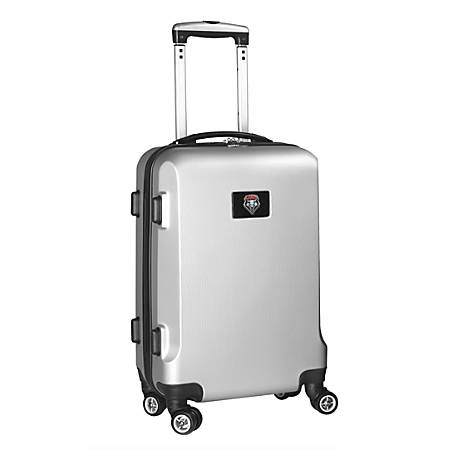 "Denco Sports Luggage Rolling Carry-On Hard Case, 20"" x 9"" x 13 1/2"", Silver, New Mexico Lobos"