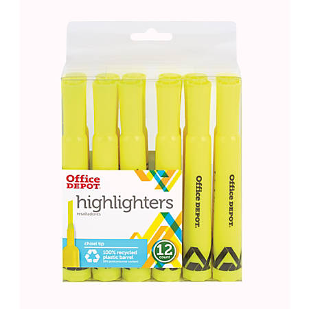 Office Depot® Brand Chisel-Tip Highlighter, Fluorescent Yellow, Pack Of 12