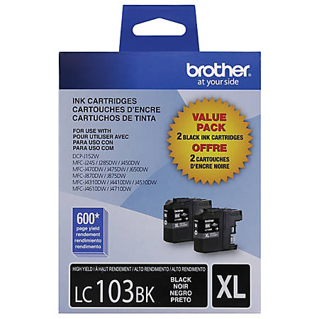 Brother® LC103 High-Yield Black Ink Cartridges, Pack Of 2