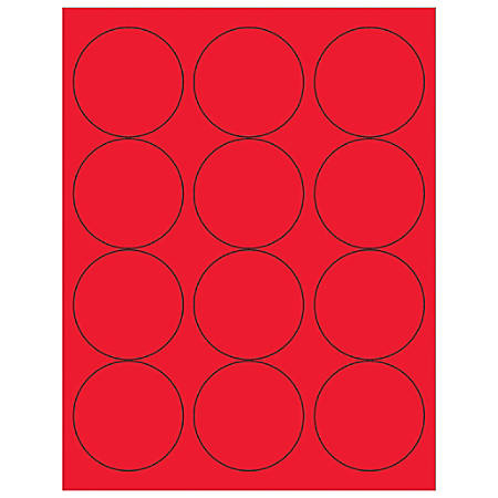 "Office Depot® Brand Labels, LL194RD, Circle, 2 1/2"", Fluorescent Red, Case Of 1,200"