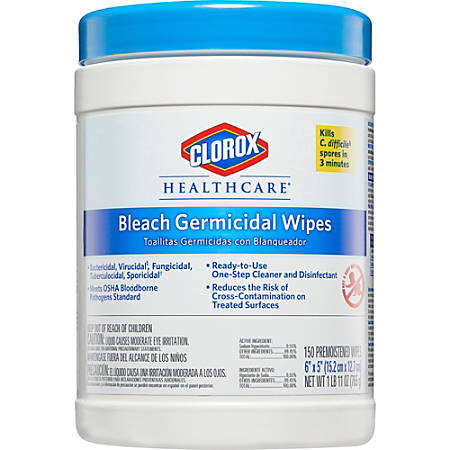 """Clorox Healthcare Germicidal Wipes With Bleach, Unscented, 6"""" x 5"""", White, Pack Of 150 Wipes"""