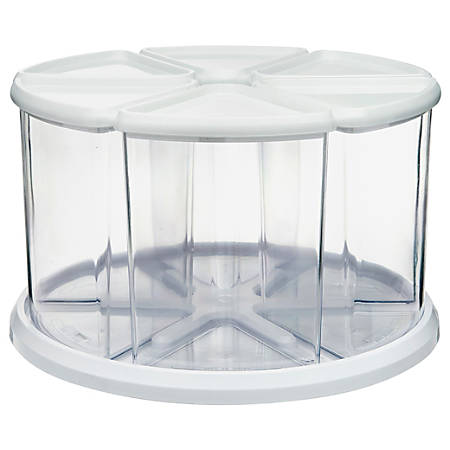 "Deflecto Rotating Carousel Organizer - 6 Compartment(s) - 6.6"" Height - Clear, White - 1Each"