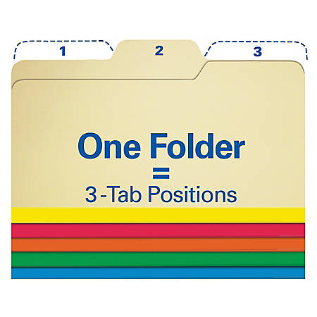 Find It® All-Tab File Folders, Letter Size, Assorted Colors, Pack Of 80