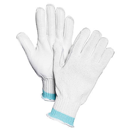 Sperian Perfect Fit Spectra Fiber Gloves - Large Size - High Performance Polyethylene (HPPE), Leather Palm - White - Cut Resistant, Heavyweight, Abrasion Resistant - For Agriculture, Fishing, Food, Glass Handling, Automotive, Paper Industry
