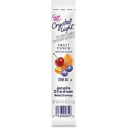 Crystal Light On-The-Go Fruit Punch Mix Sticks - Fruit Punch Flavor - 0.16 oz - Stick - 30 / Box