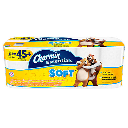 Charmin® Essentials Soft™ Bathroom Tissue, 2-Ply, White, 200 Sheets Per Roll, Pack Of 20 Rolls