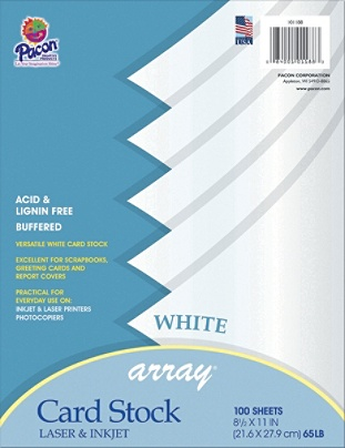 Pacon Card Stock Letter Paper Size 65 Lb White 100 Sheets Item 1299178