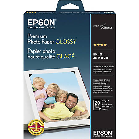 "Epson® Premium Glossy Photo Paper, 5"" x 7"", 68 Lb, Pack Of 20 Sheets"