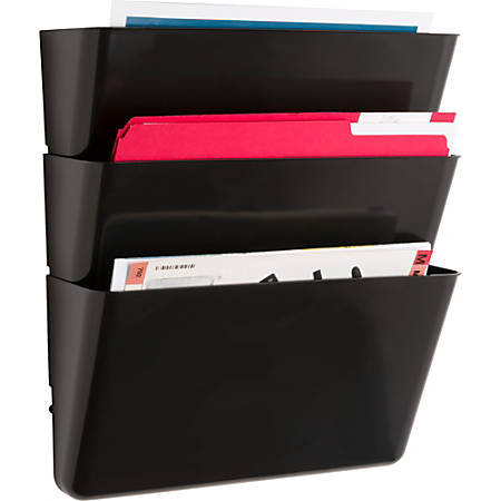 "Sparco Stak-A-File Vertical Filing Systems - 14.5"" Height x 13.1"" Width x 4.3"" Depth - Wall Mountable - Black - 3 / Pack"