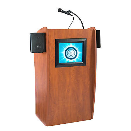 Oklahoma Sound® The Vision Lectern With Sound & Screen, Cherry