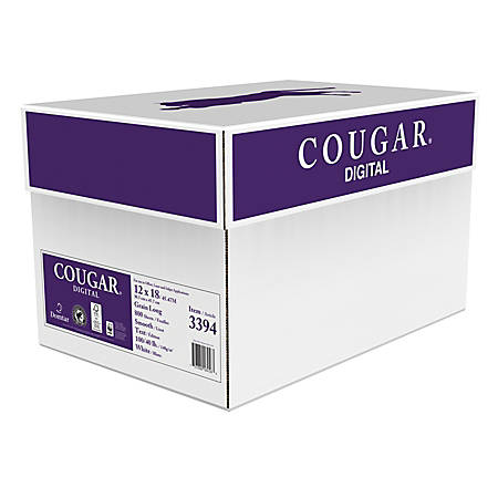 """Cougar® Digital Printing Paper, 12"""" x 18"""", 98 Brightness, 100 Lb Text (148 gsm), FSC® Certified, White, Case Of 800 Sheets"""