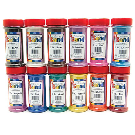 Hygloss Bucket O' Sand, 1 Lb, Assorted Colors, Box Of 12