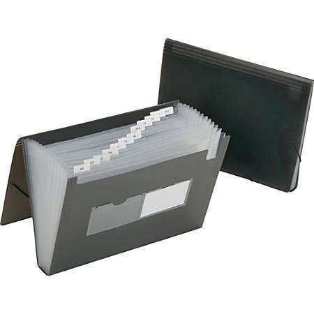 SKILCRAFT® 12-Tab Polypropylene Expanding File Folder, Letter Size, Smoke Gray