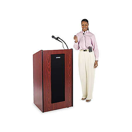 """AmpliVox SW450 - Wireless Presidential Plus Lectern - 46.50"""" Height x 25.50"""" Width x 20.50"""" Depth - Assembly Required - Mahogany"""