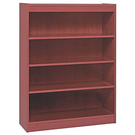 "Lorell® Veneer Bookcase, 4-Shelf, 48""H, Mahogany"