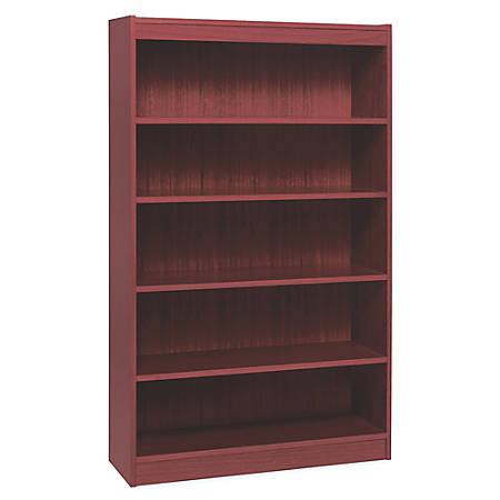 "Lorell® Veneer Bookcase, 5-Shelf, 60""H, Mahogany"