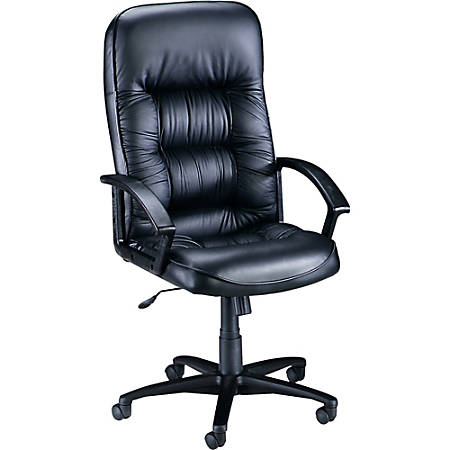 Lorell® Tufted High-Back Bonded Leather Executive Chair, Black