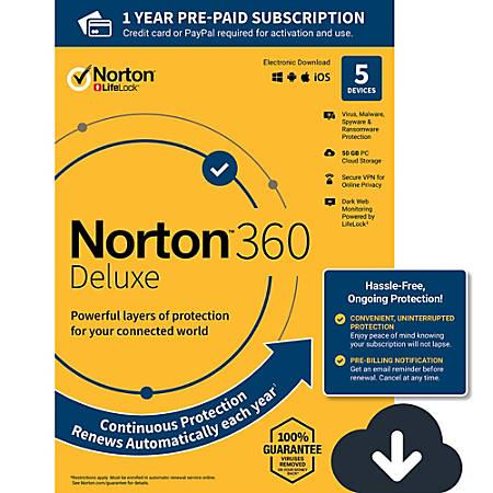 Norton 360 Deluxe 50GB EN 1 User 5 Device 12 Month