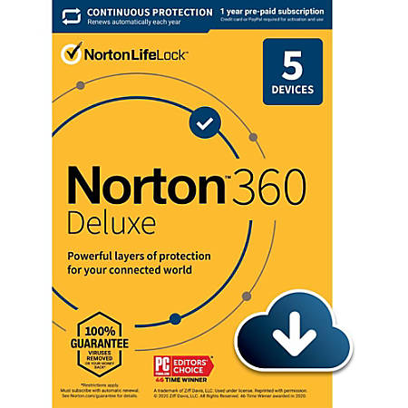 Norton 360 Deluxe, For 5 Devices, 1 Year Subscription, Windows, Download