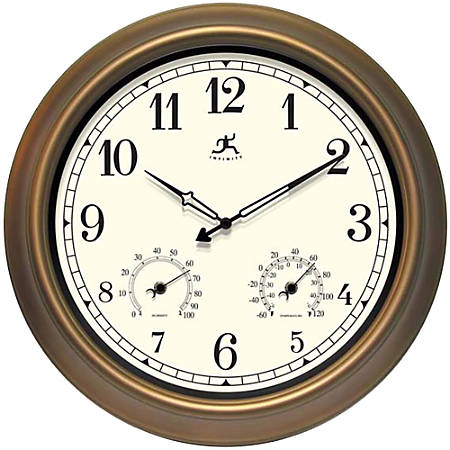 "Infinity Instruments Round Wall Clock, 18"", Bronze/Ivory"