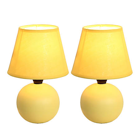 """Simple Designs Mini Globe Table Lamps, 8 7/8""""H, Yellow Shade/Yellow Base, Set Of 2"""