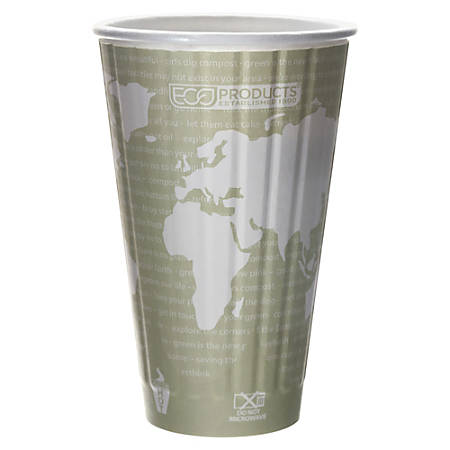 Eco-Products World Art Insulated Hot Cups, 16 Oz, Light Green/White, Pack Of 600
