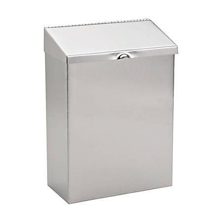 """Hospital Specialty Stainless Steel Sanitary Napkin Receptacle, 11"""" x 8"""" x 4"""", Silver"""
