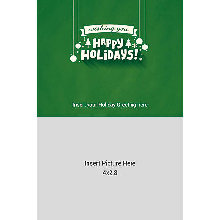 Flat Photo Greeting Card, Happy Holidays Green, Vertical